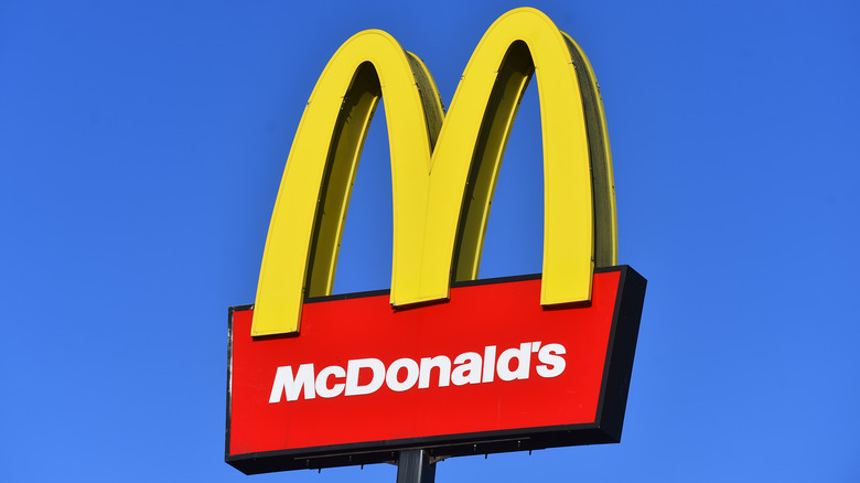 McDonald's Arch against blue sky