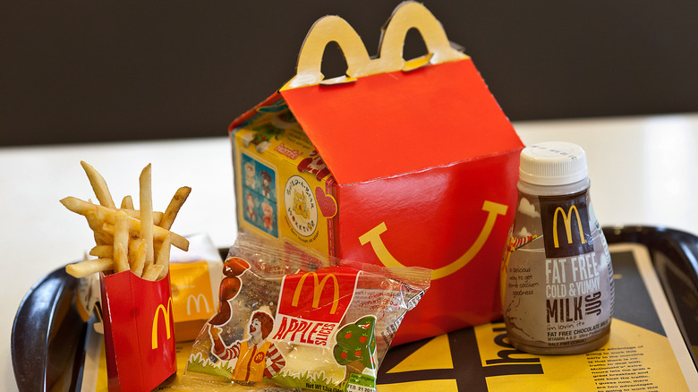 McDonald's Happy Meal laid out on tray