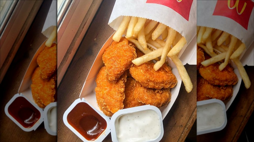 Spicy McNuggets with McDonald's fries and dipping sauces