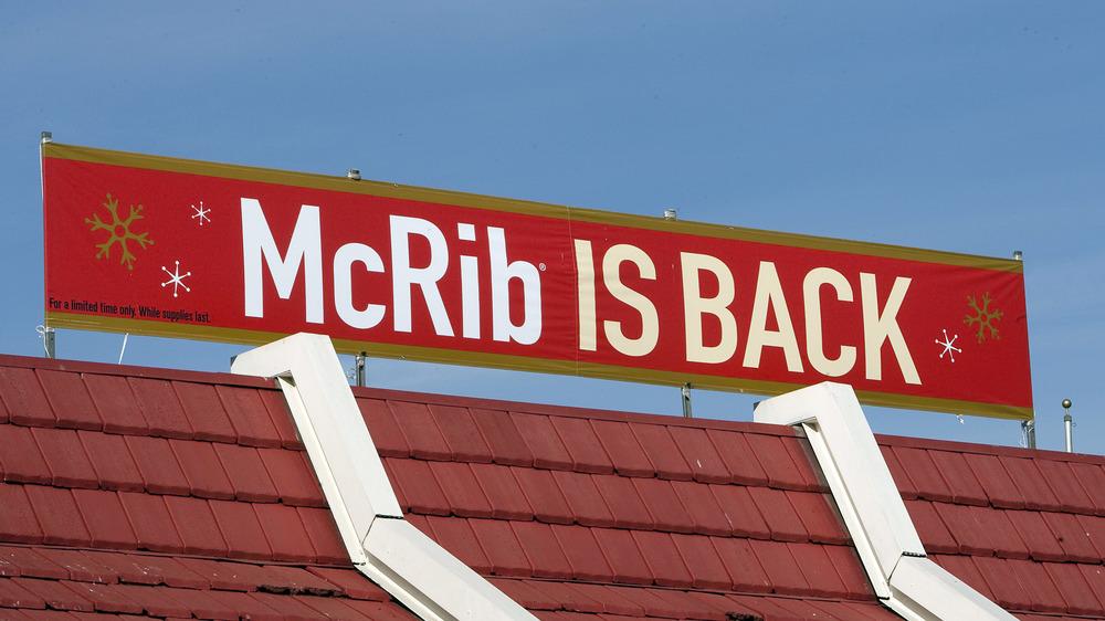 McRib is back restaurant sign
