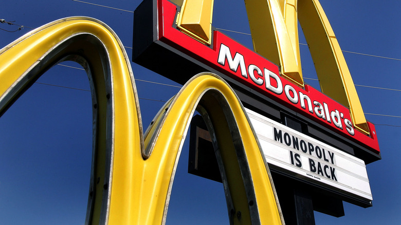 """McDonald's sign reading """"Monopoly is back"""""""