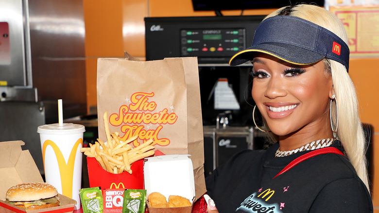 Rap star Saweetie with her McDonald's meal