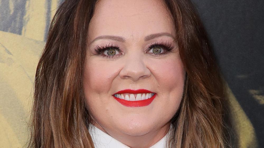 Melissa McCarthy wearing red lipstick