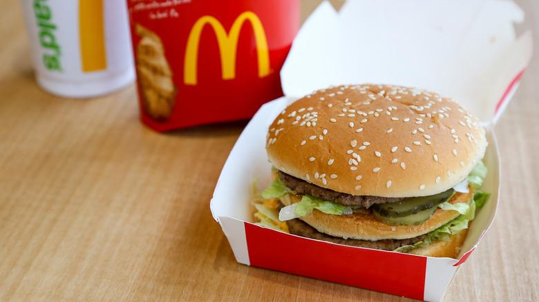 McDonald's hamburger and cup