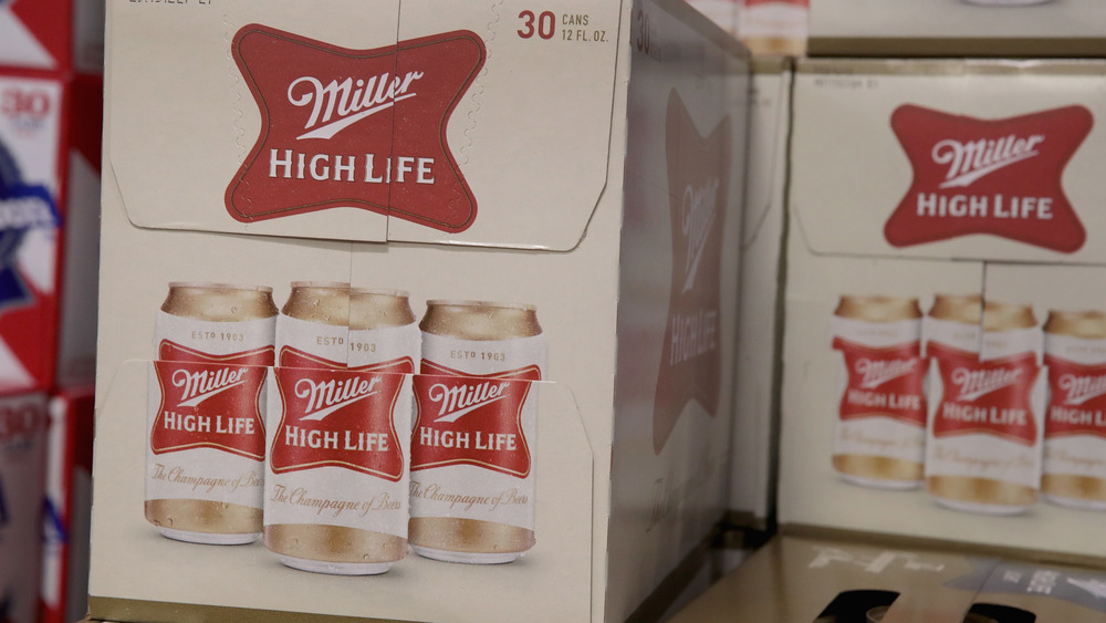 Boxes of Miller High Life beer