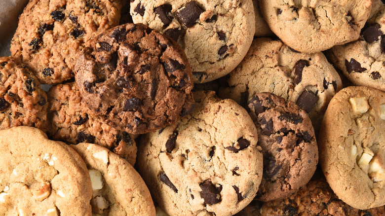 A pile of different kinds of cookies