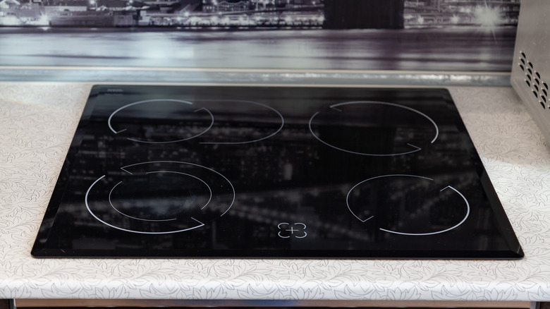 glass stovetop on counter