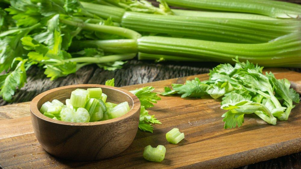 celery on a chopping board