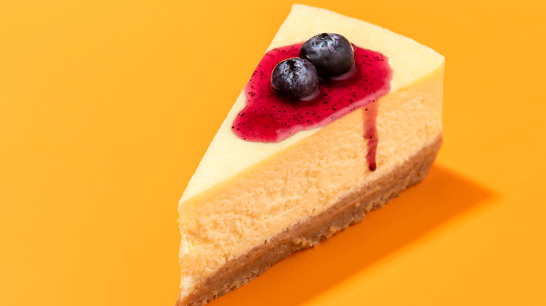 slice of cheesecake with blueberry topping