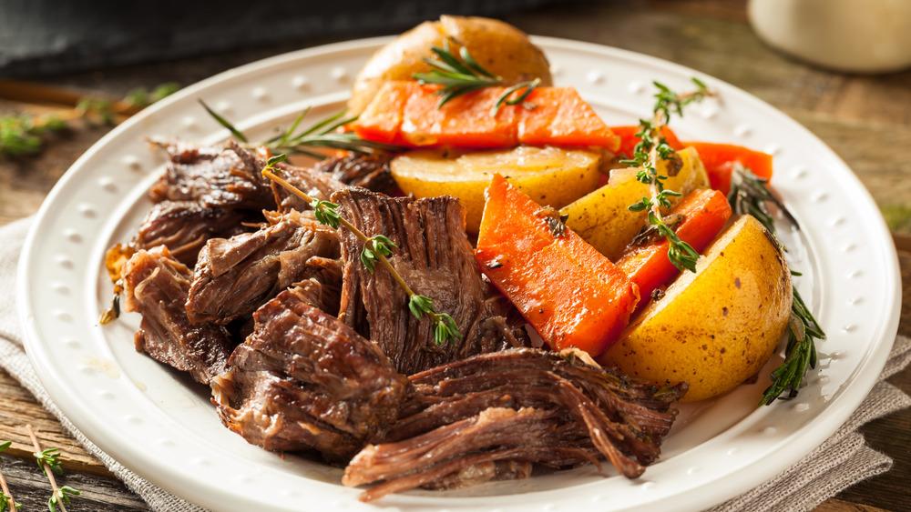 Pot roast, potatoes, carrots
