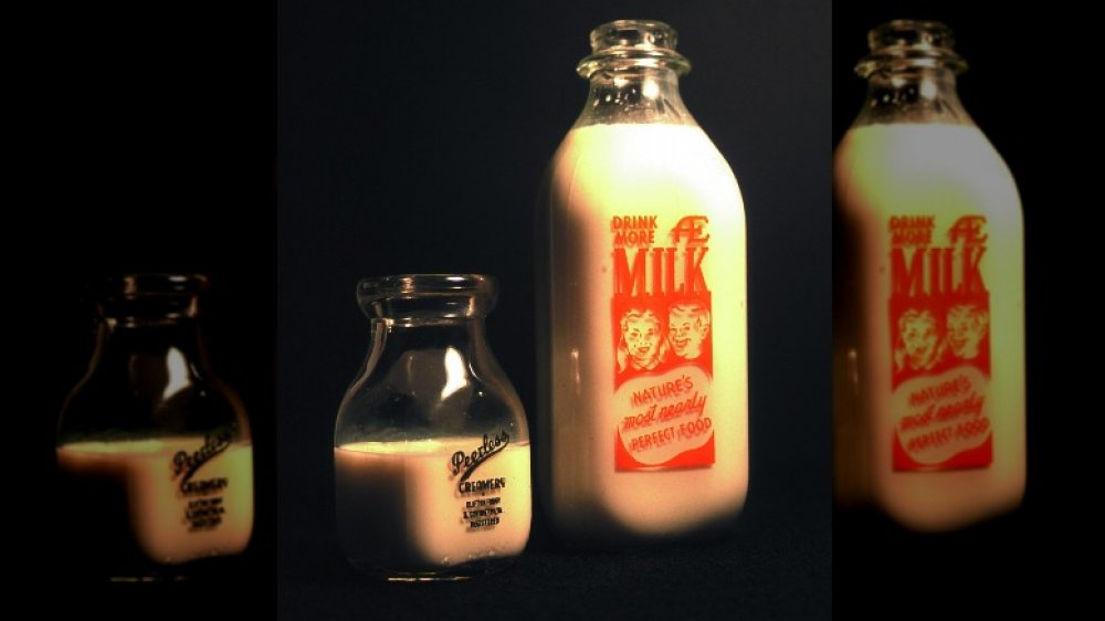 Vintage milk bottles for French toast