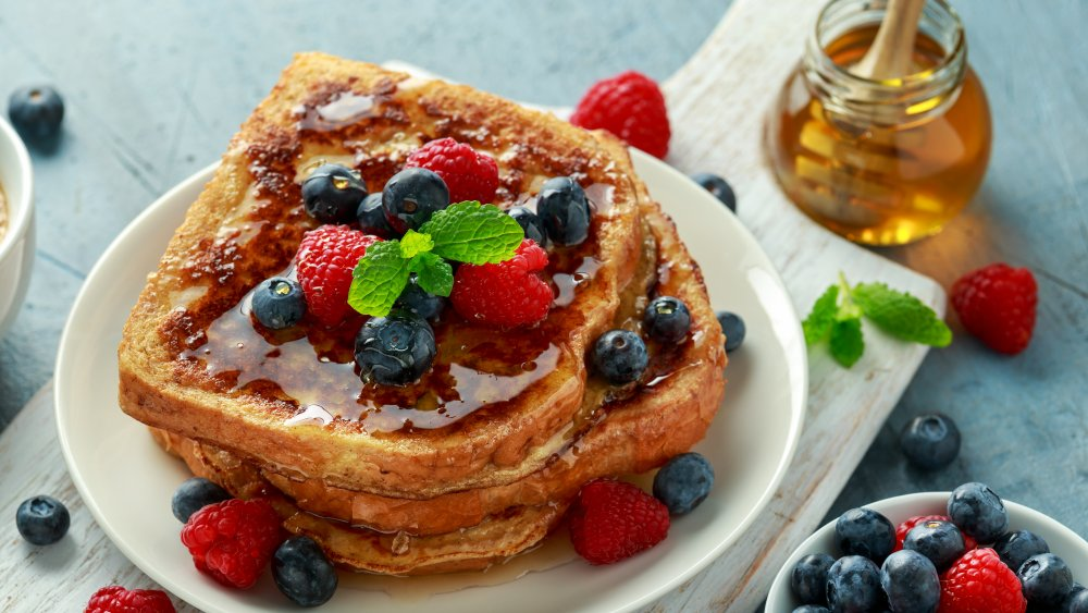 French toast with fresh fruit and syrup