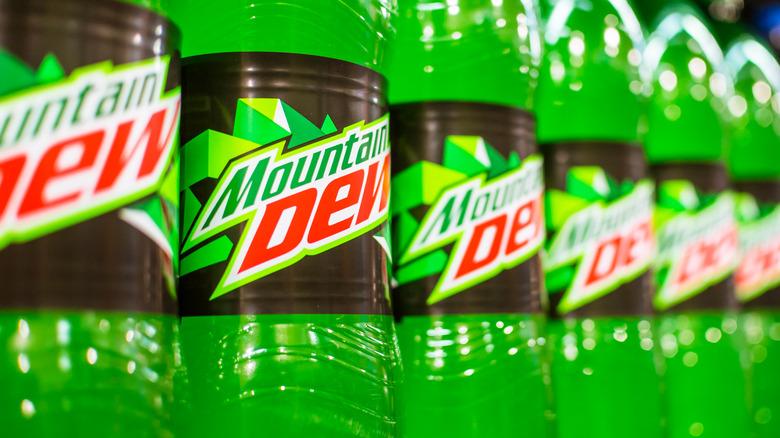 Mountain Dew bottles arranged in a row