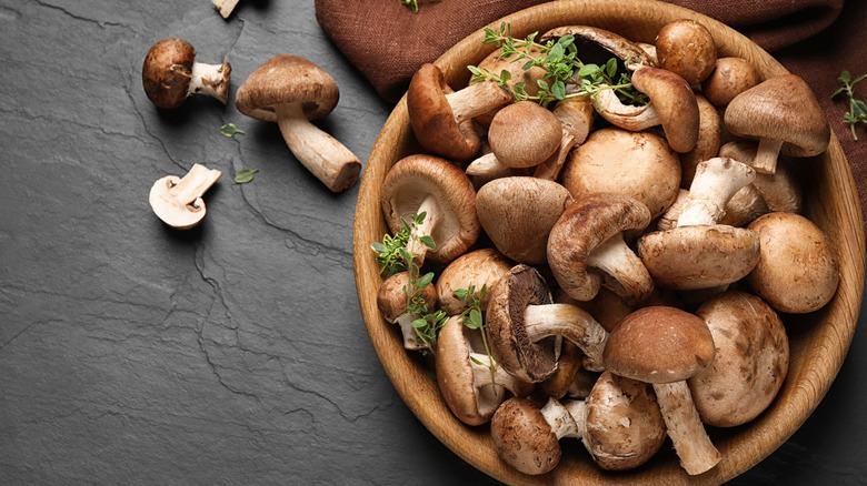 mushrooms in wood bowl
