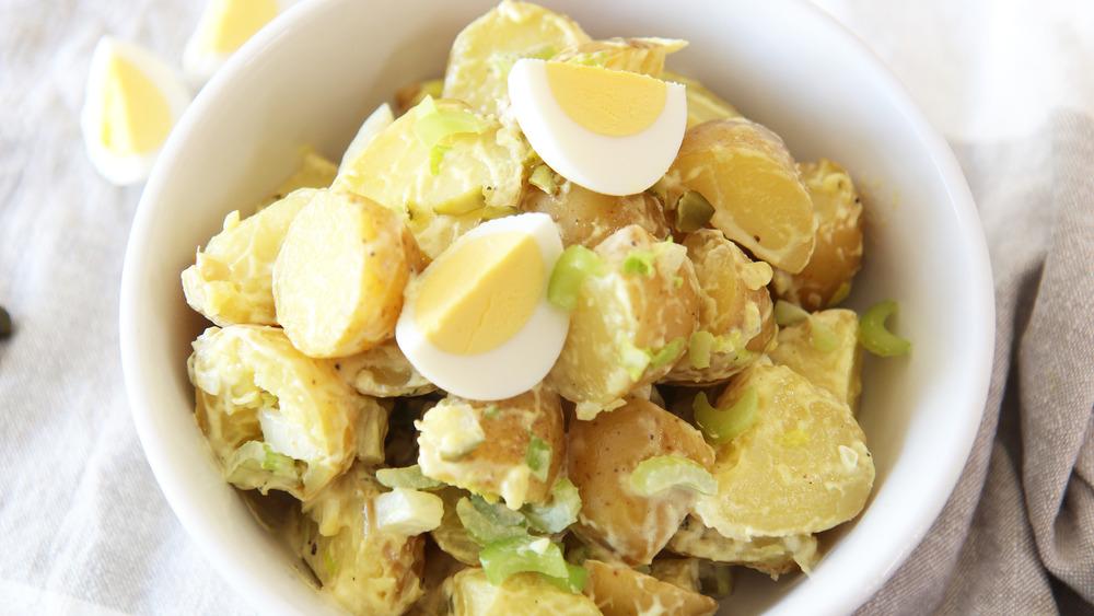 mustard potato salad served