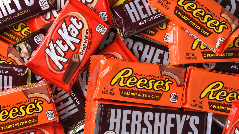 Candy bars in a pile