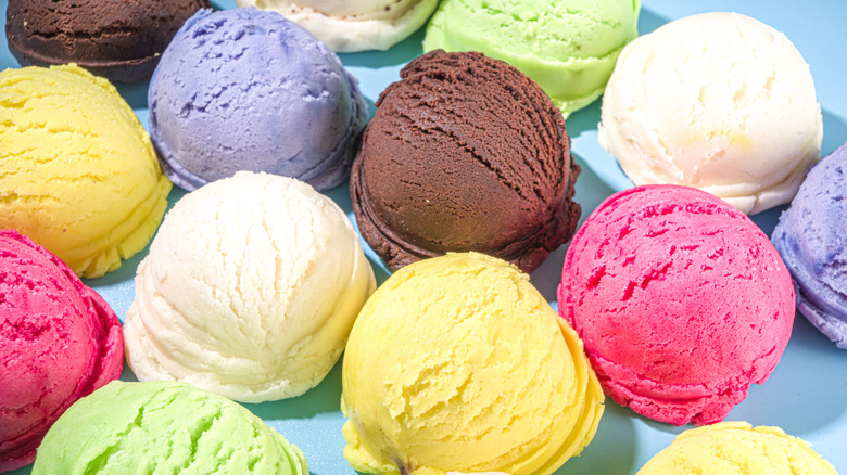 scoops of ice cream in different flavors