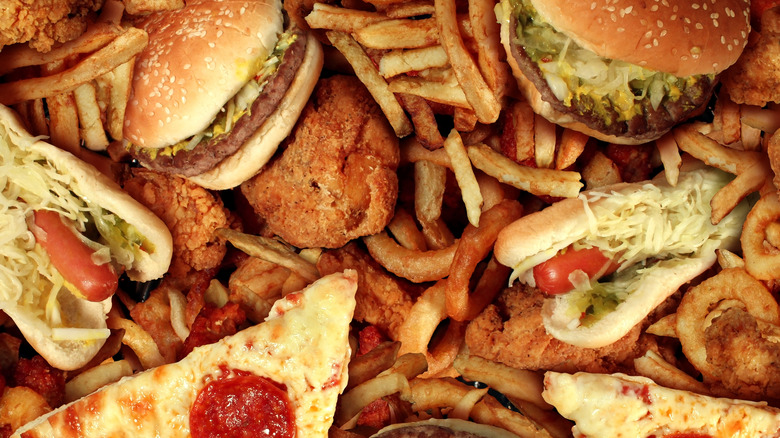 An assortment of fried and greasy fast foods