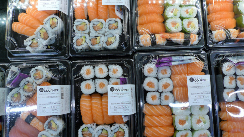 Packages of grocery store sushi
