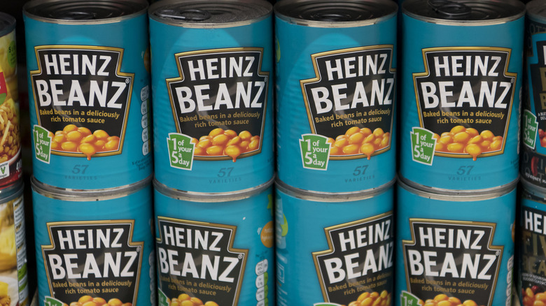 Cans of Heinz baked beans