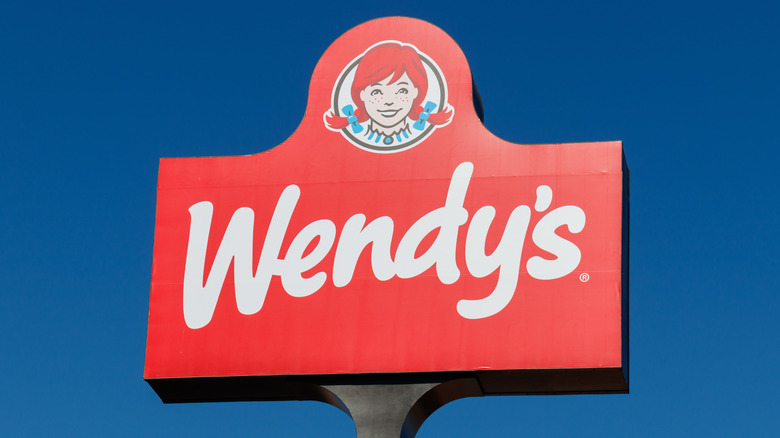 Wendy's sign and blue sky