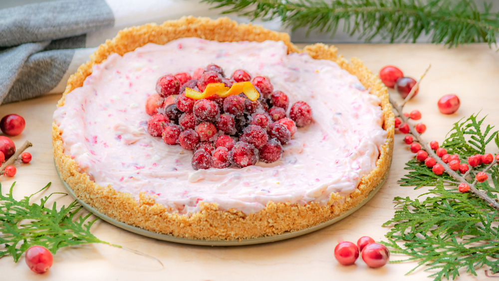 no-bake cranberry orange cheesecake