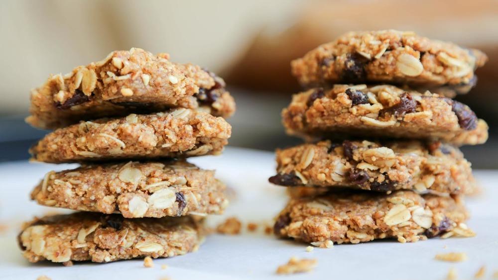 Stacks of no-bake oatmeal cookies