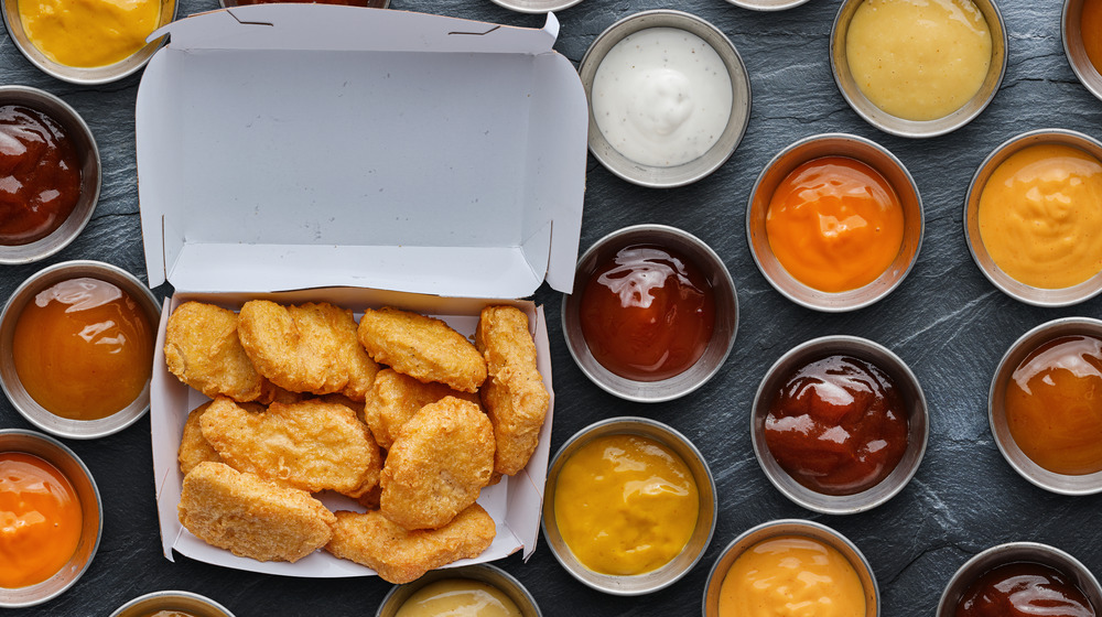 Dipping sauces and chicken nuggets