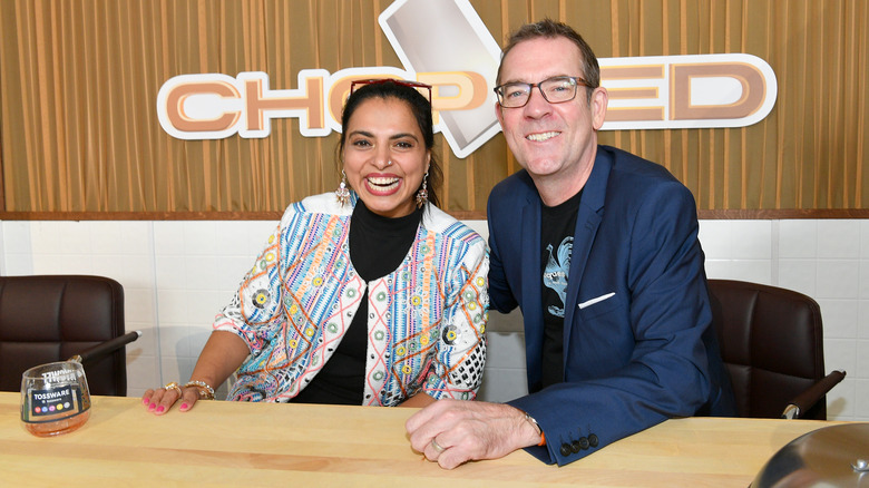 Ted Allen with Maneet Chauhan