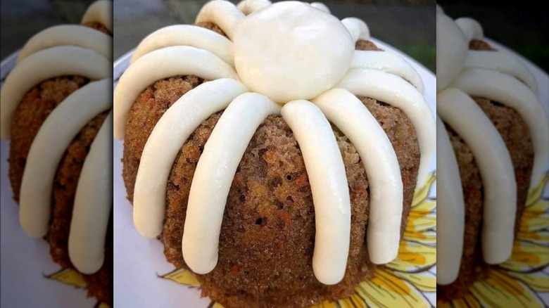 A small carrot flavored Nothing Bundt Cakes cake