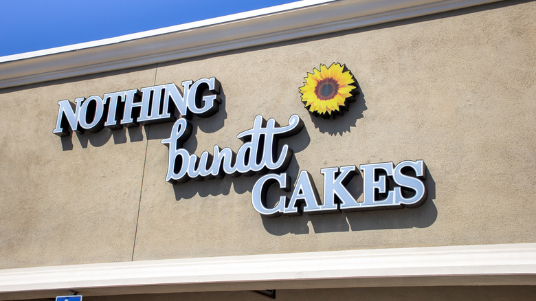 A storefront sign of Nothing Bundt Cakes