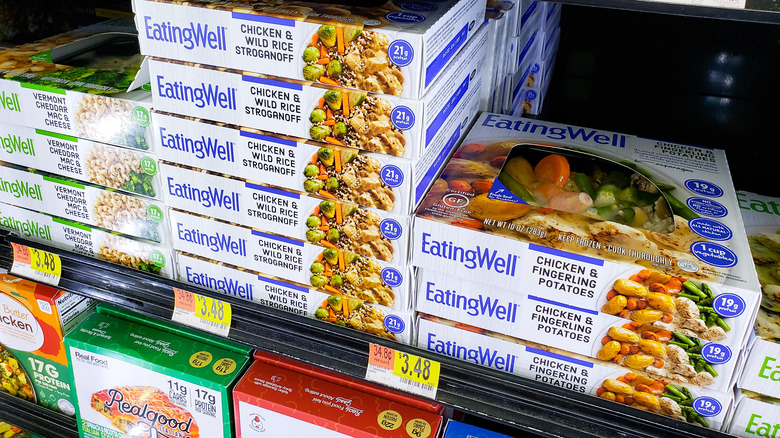 Frozen dinners in supermarket