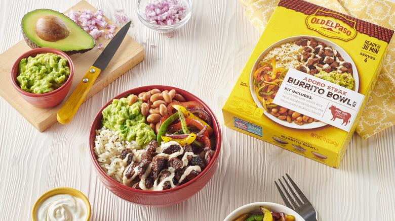 Old El Paso Burrito Bowl Kit with chopped ingredients