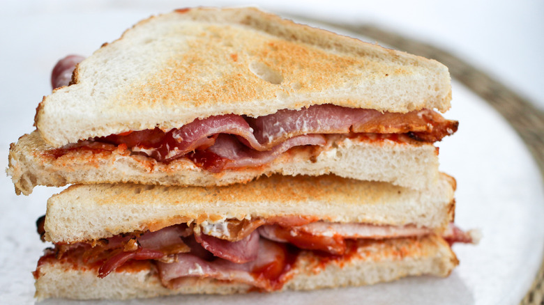 An Old-Fashioned Bacon Butty on a plate