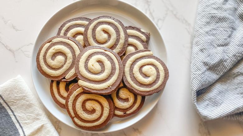 plate of pinwheel cookies