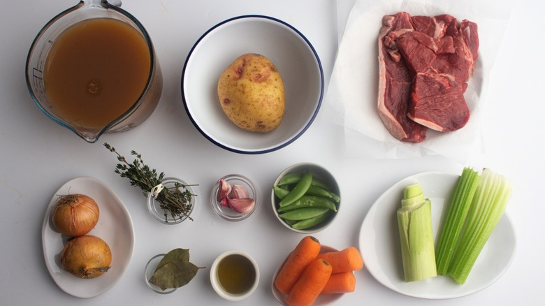 The ingredients for old fashioned vegetable beef soup