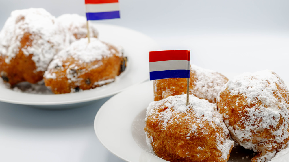 Fried doughnut with a Dutch flag
