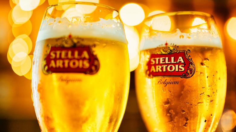Full glasses of Stella Artois beer