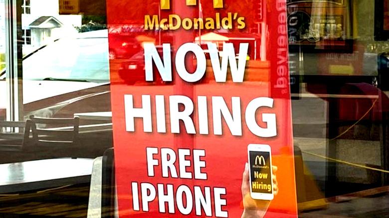 """McDonald's """"now hiring free iPhone"""" sign"""