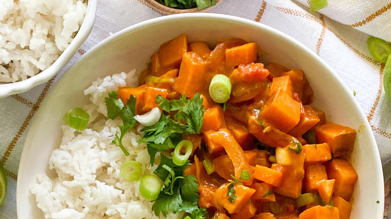 sweet potato curry in bowl
