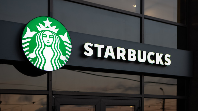 The sign at a Starbucks coffee chain location