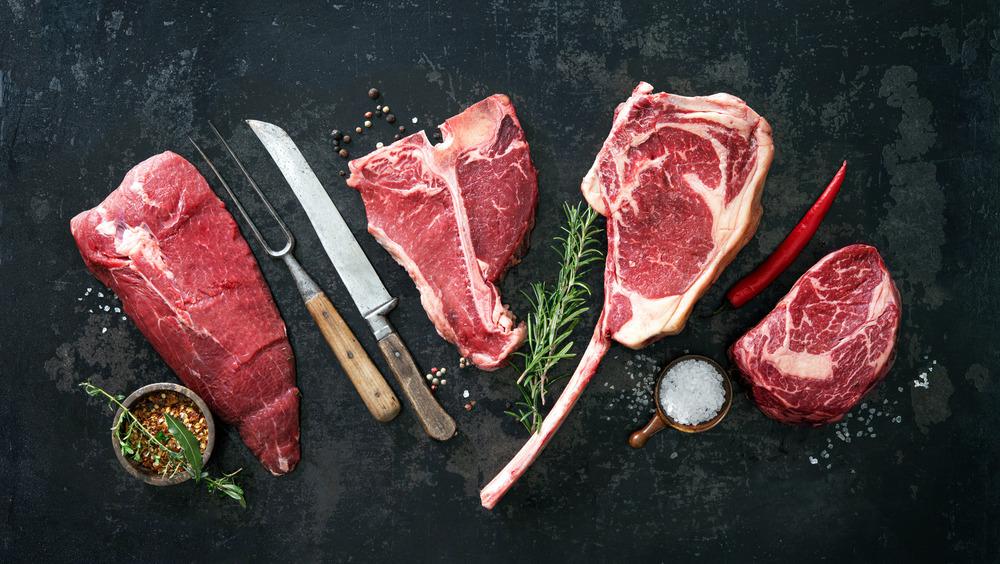 Slabs of raw steak