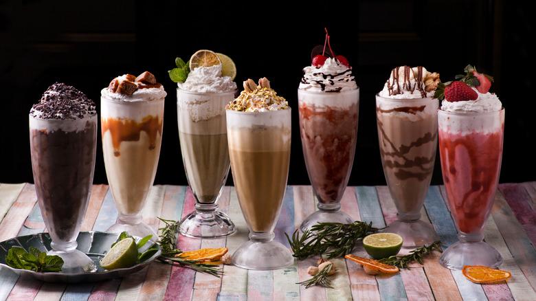 assorted milkshakes lined up
