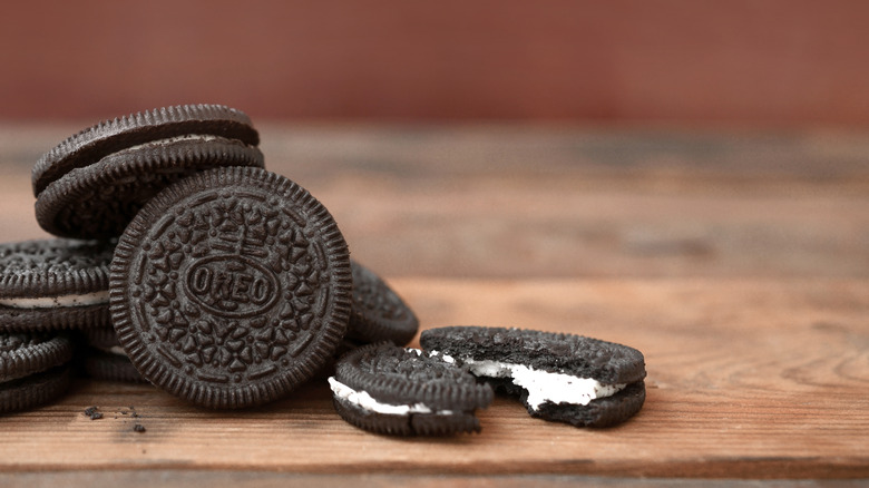 Oreo stack on wooden table