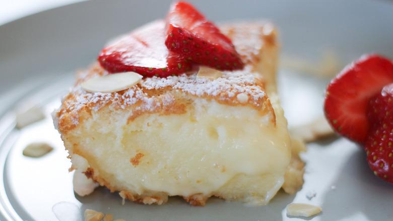 3-Layer Magic Cake slice on plate