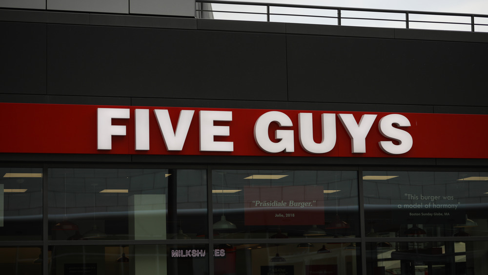 Outside a Five Guys location