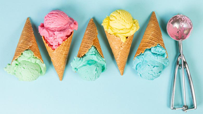 Ice cream cones and a scooper