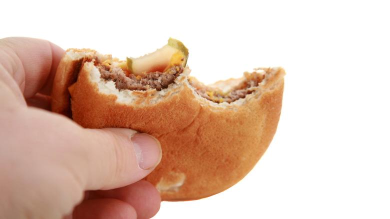 A half-eaten burger