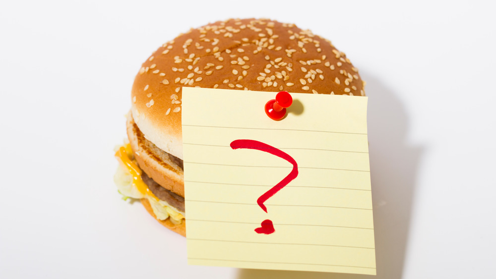 A hamburger with a question mark