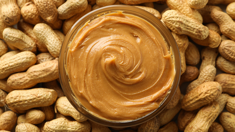 swirled peanut butter and peanuts